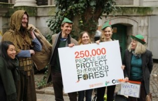 Campaigners and local residents hand in a petition to Defra against fracking in Sherwood Forest