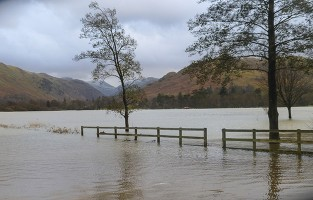 flooded shores of ullswater
