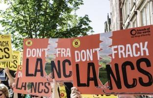 Anti-fracking protestors in Lancashire