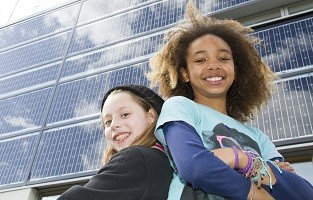 Girls with solar panels