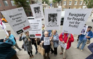 'Free Miguel' demonstration outside the Paraguayan embassy, London, UK