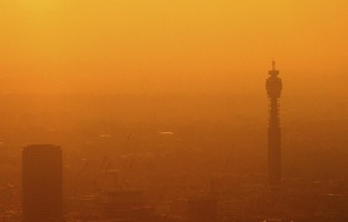 Sunset over London skyline