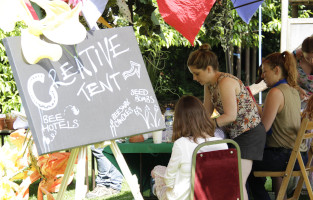 Creative tent and workshops at Friends of the Earth's Basecamp 2013